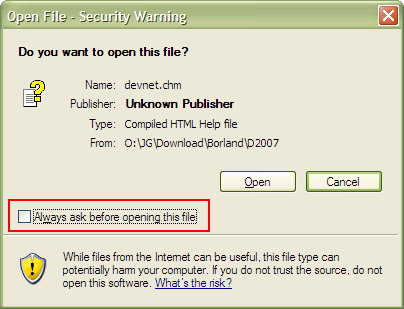 Security warning when opening a downloaded CHM file