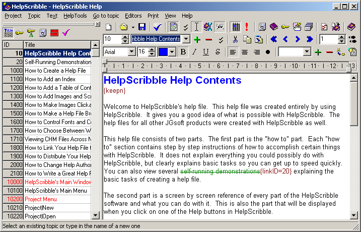 Full-featured help authoring tool.